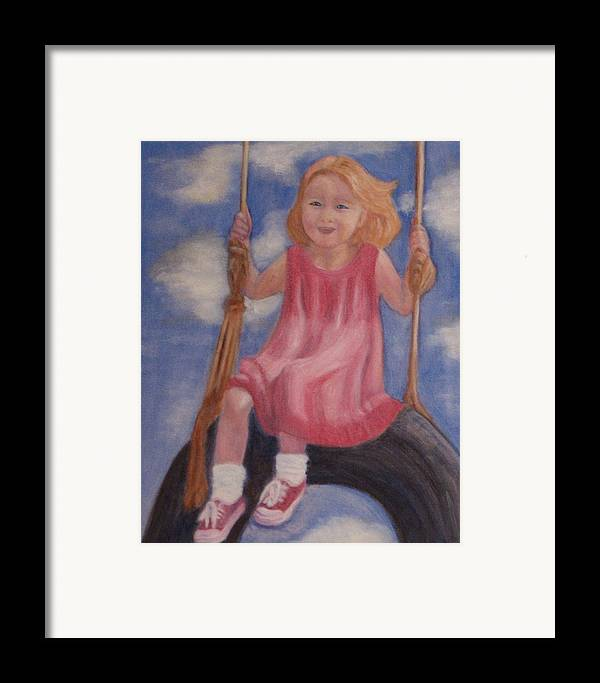 Child Framed Print featuring the painting Swingin by Patricia Ortman