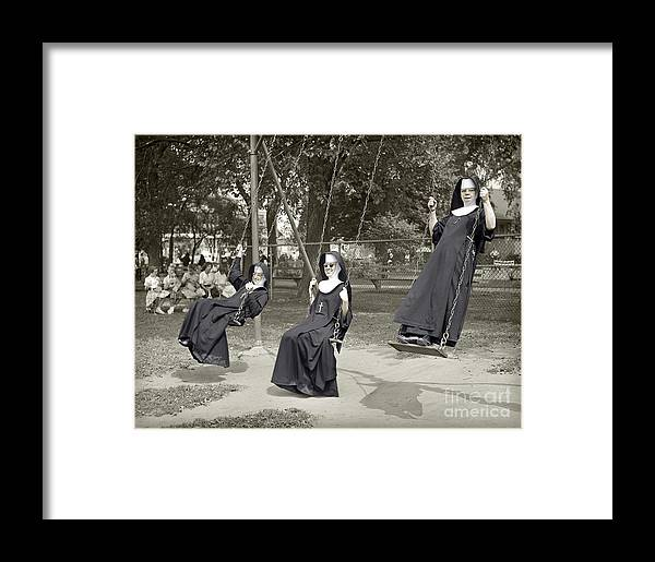 Nuns Framed Print featuring the photograph Swinging Nuns 1960 by Martin Konopacki Restoration