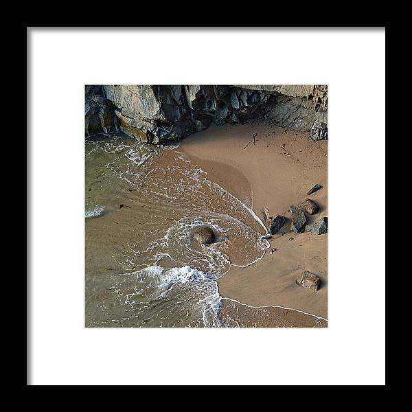 Big Sur Framed Print featuring the photograph Swirling Surf And Rocks by Charlene Mitchell
