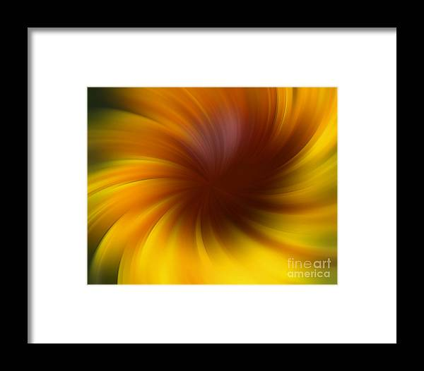 Abstract Framed Print featuring the digital art Swirling Yellow And Brown by Smilin Eyes Treasures