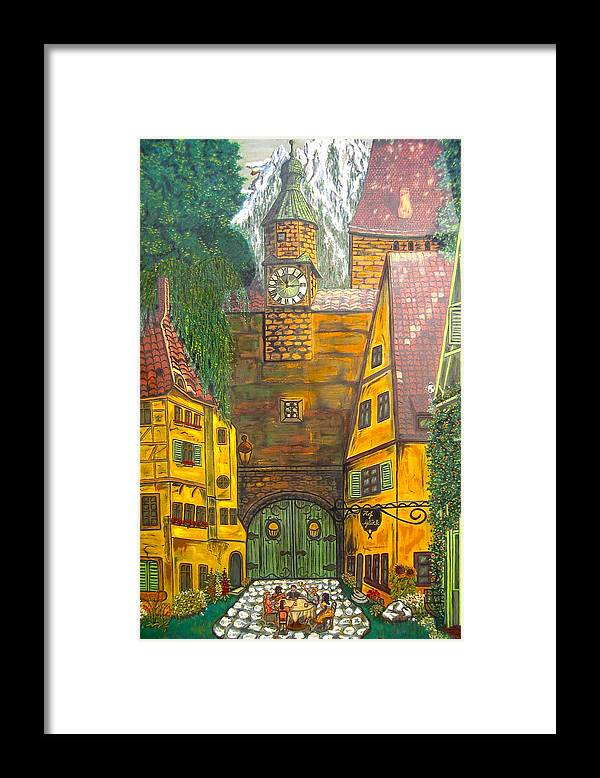Switzerland Framed Print featuring the painting Swiss Birthday Party by V Boge