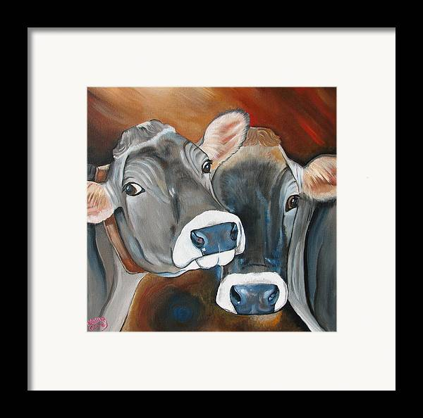 Brown Swiss Framed Print featuring the painting Swiss Misses by Laura Carey