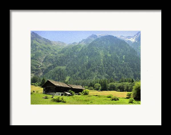 Switzerland Framed Print featuring the painting Swiss Mountain Home by Jeff Kolker