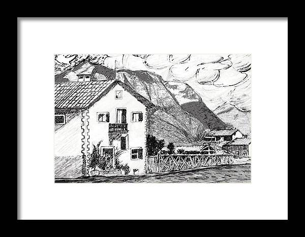 Landscape Framed Print featuring the drawing Swiss Mountain Trail by Monica Engeler