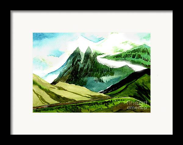 Landscape Framed Print featuring the painting Switzerland by Anil Nene