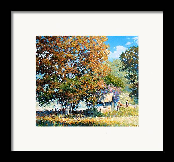 Landscape Framed Print featuring the painting Sycamores With Tallow by Kevin Lawrence Leveque
