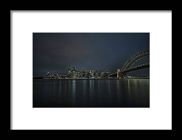 Australia Framed Print featuring the photograph Sydney Downtown With Opera House And Harbour Bridge At Night by Miroslav Liska