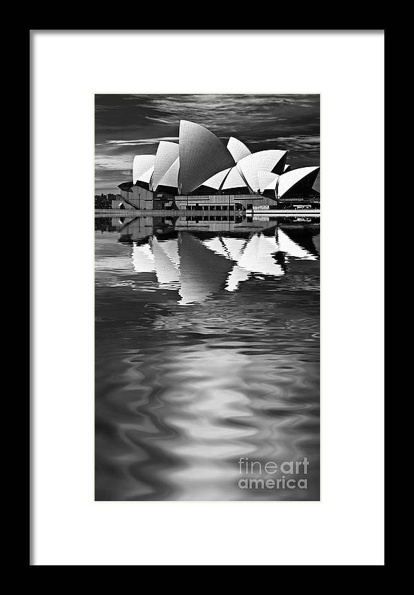 Sydney Opera House Monochrome Black And White Framed Print featuring the photograph Sydney Opera House Reflection In Monochrome by Sheila Smart Fine Art Photography