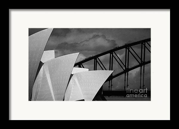 Sydney Opera House Framed Print featuring the photograph Sydney Opera House With Harbour Bridge by Sheila Smart Fine Art Photography