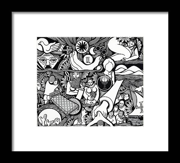 Drawing Framed Print featuring the drawing Symbols I Am Sick Of Symbols by Jose Alberto Gomes Pereira