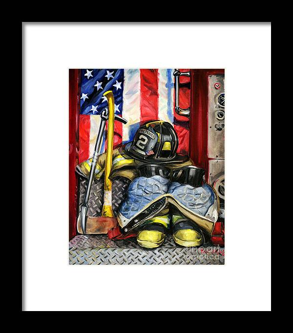 Firefighting Framed Print featuring the painting Symbols Of Heroism by Paul Walsh