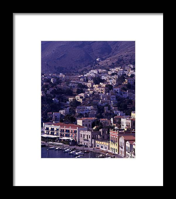 Europe; Greece; Greek Islands; Mediterranean; Dodecanese; Symi; Town; Simi; Yialos; Landscape Framed Print featuring the photograph Symi by Steve Outram