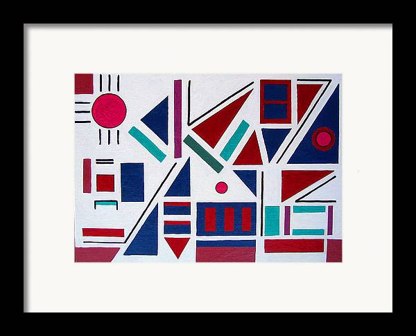 Abstract Framed Print featuring the painting Symmetry In Blue Or Red by Marco Morales