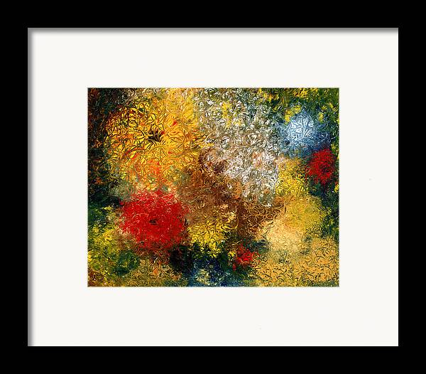 Abstract Framed Print featuring the painting Symphonie De Fleurs by Dominique Boutaud