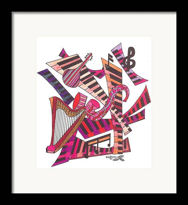 Music Framed Print featuring the drawing Symphony by Eric Devan