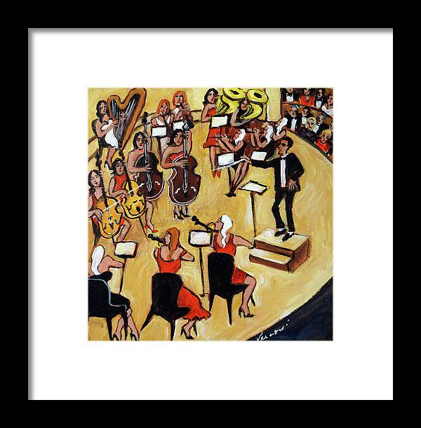Carnegie Hall Orchestra Framed Print featuring the painting Symphony by Valerie Vescovi