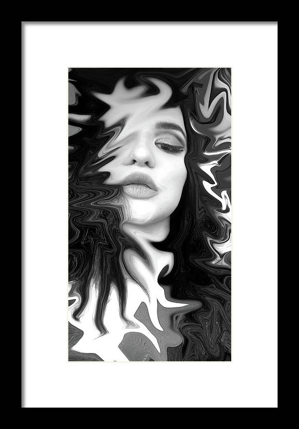 Black And White Framed Print featuring the digital art System Error by Dessie Sutej