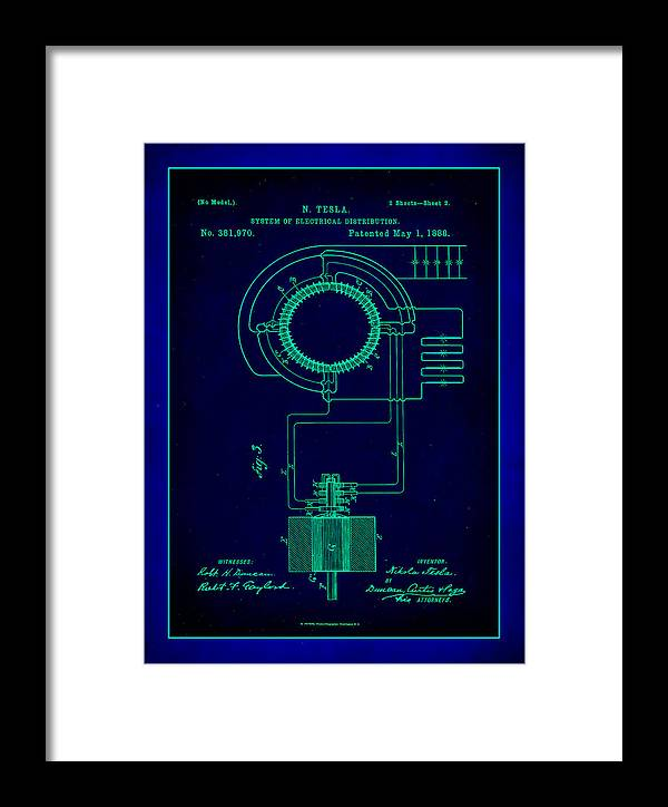 Patent Framed Print featuring the mixed media System Of Electrical Distribution Patent Drawing 2a by Brian Reaves
