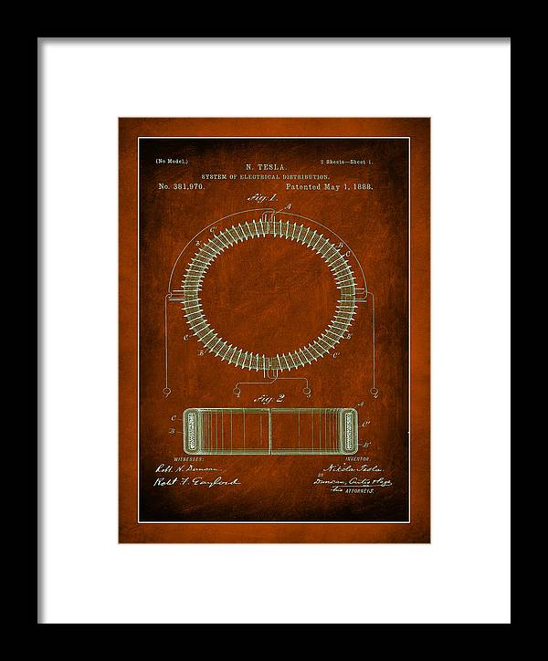 Patent Framed Print featuring the mixed media System Of Electrical Distribution Patent Drawing by Brian Reaves