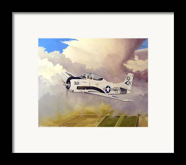 Military Framed Print featuring the painting T-28 Over Iowa by Marc Stewart