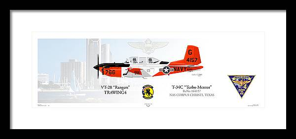 T-34c Framed Print featuring the digital art T-34c Turbomentor by Arthur Eggers