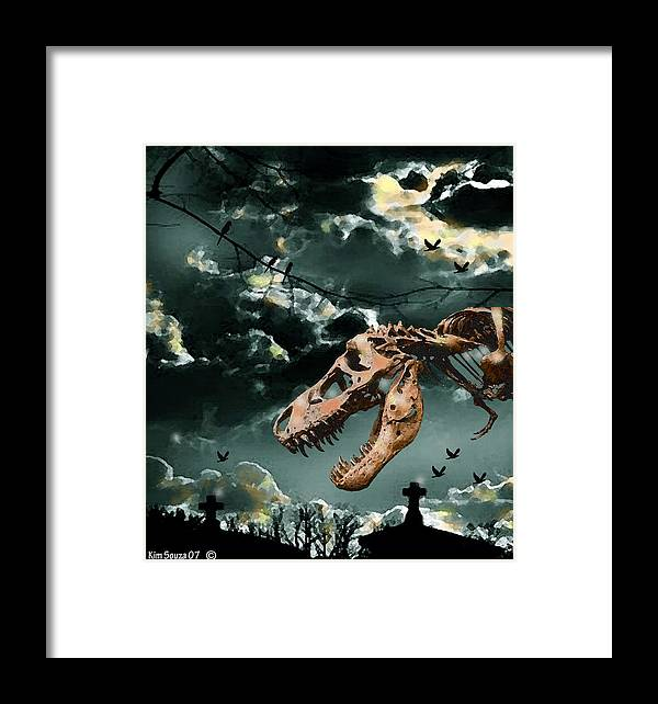 Dinosaurs Framed Print featuring the digital art T-rex Graveyard by Kim Souza