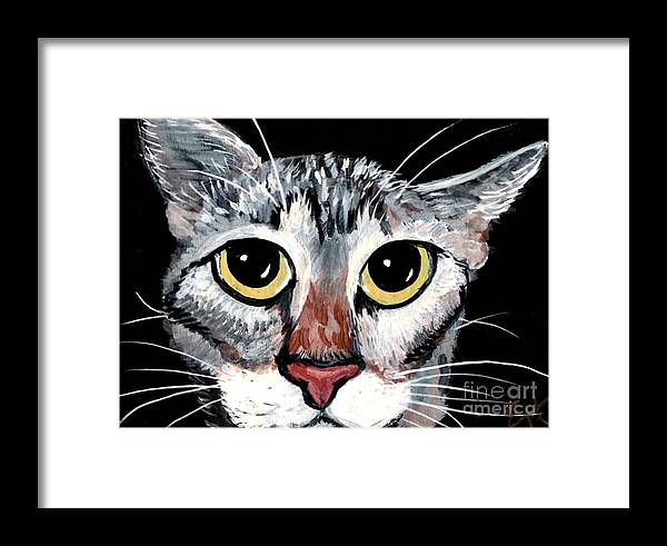 Cat Framed Print featuring the painting Tabby Eyes by Elaine Hodges