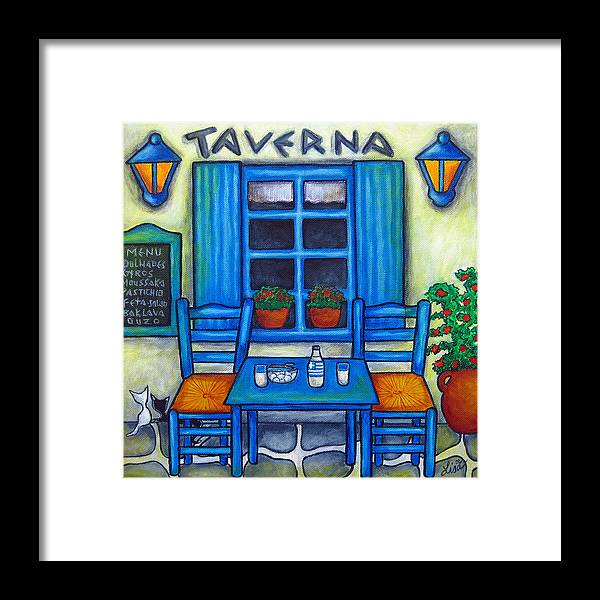 Blues Framed Print featuring the painting Table for Two in Greece by Lisa Lorenz
