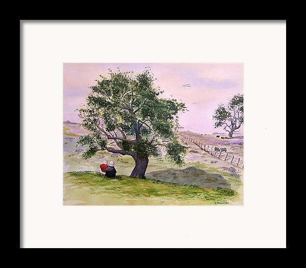 Landscape Framed Print featuring the painting Table Moutain by Robert Thomaston