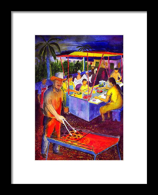 Plaza Framed Print featuring the painting Taco Barbaque by Buster Dight
