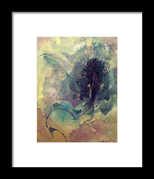 Abstract Framed Print featuring the painting Tadpole by Fred Wellner