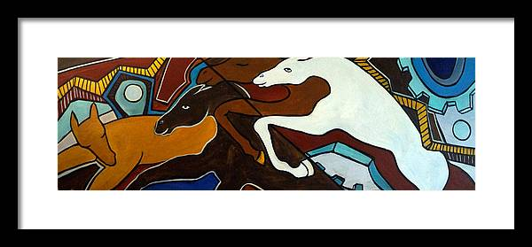 Horse Abstract Framed Print featuring the painting Taffy Horses by Valerie Vescovi
