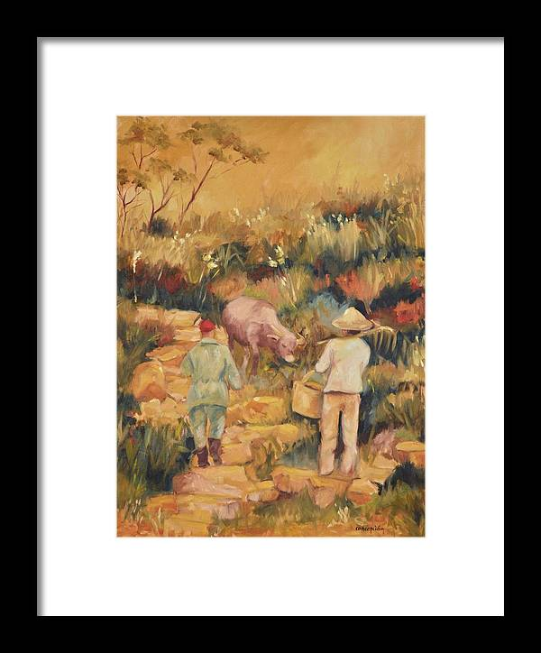 Water Buffalo Framed Print featuring the painting Taipei Buffalo Herder by Ginger Concepcion