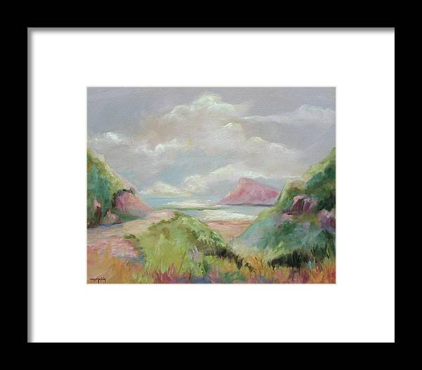 Seascape Framed Print featuring the painting Taiwan Inlet by Ginger Concepcion