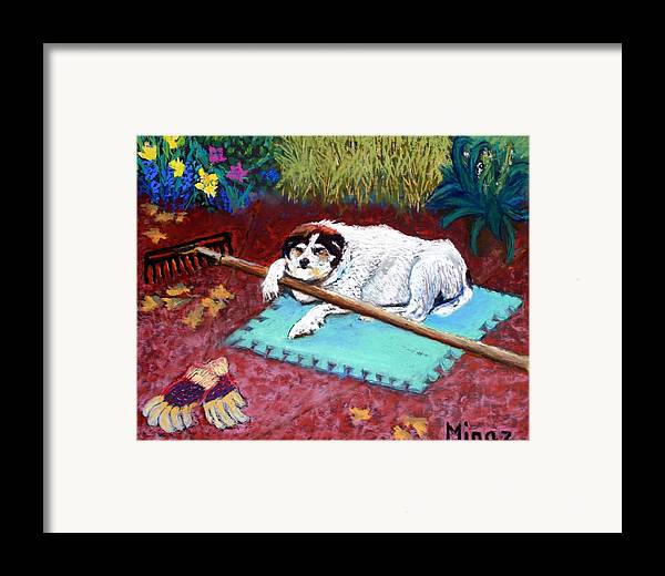 Dog Framed Print featuring the painting Take A Break by Minaz Jantz