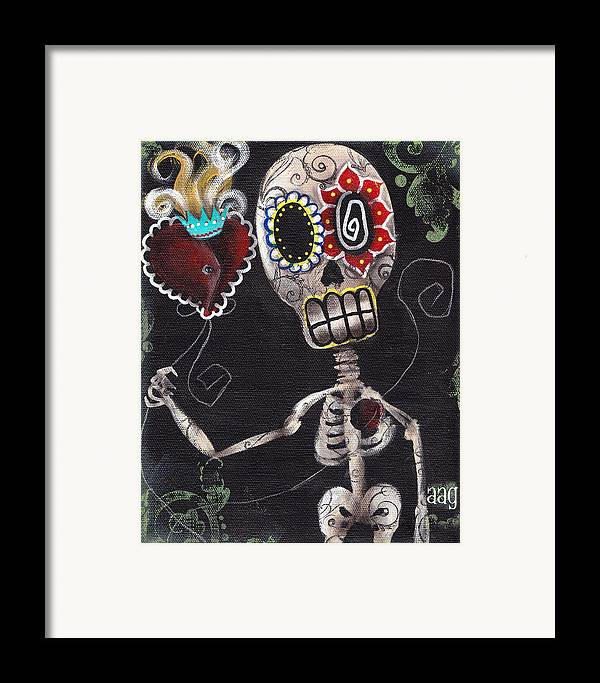 Day Of The Dead Framed Print featuring the painting Take My Heart by Abril Andrade Griffith