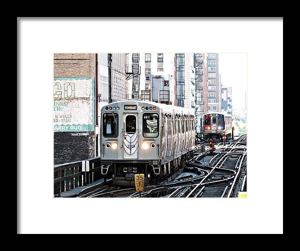 Darin Volpe Railroad Framed Print featuring the photograph Take The 'l' Train - Elevated Train In Chicago Illinois by Darin Volpe