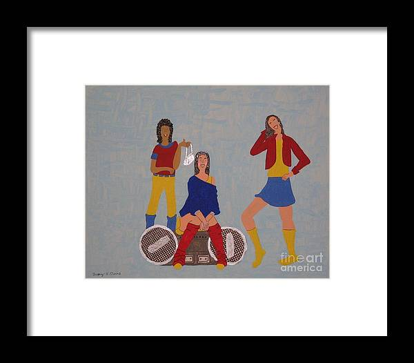 Girls Framed Print featuring the painting Takeing A Break by Gregory Davis