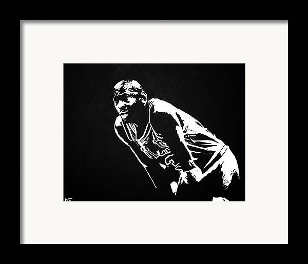 Michael Jordan Framed Print featuring the painting Taking A Breather by Matthew Formeller