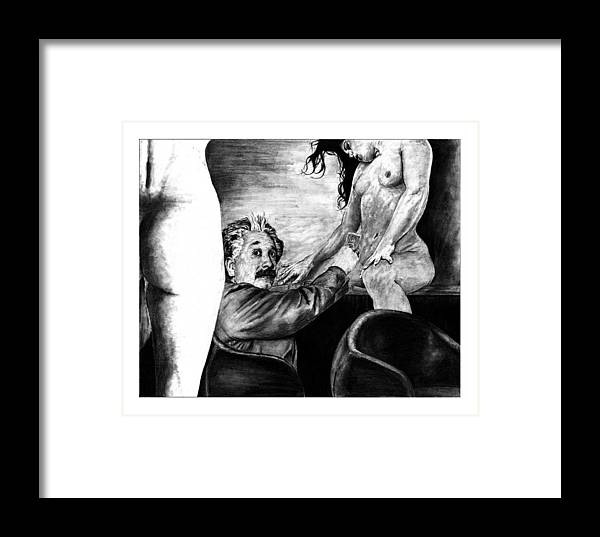 Portrait Girl Woman Charcoal Art Traditional Life 2d Nude Naked Beautiful Albert Einstein Strip Club Framed Print featuring the drawing Taking A Day Off by Priscilla Vogelbacher