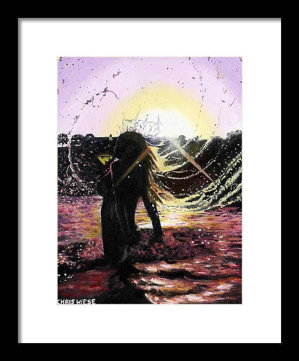 Sunset Framed Print featuring the painting Taking A Dip by Chris Wiese
