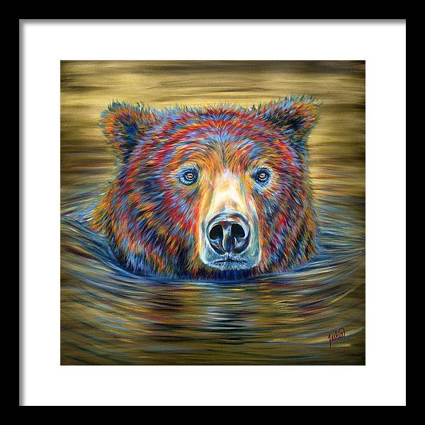 Swimming Bear Framed Print featuring the painting Taking a Dip by Teshia Art