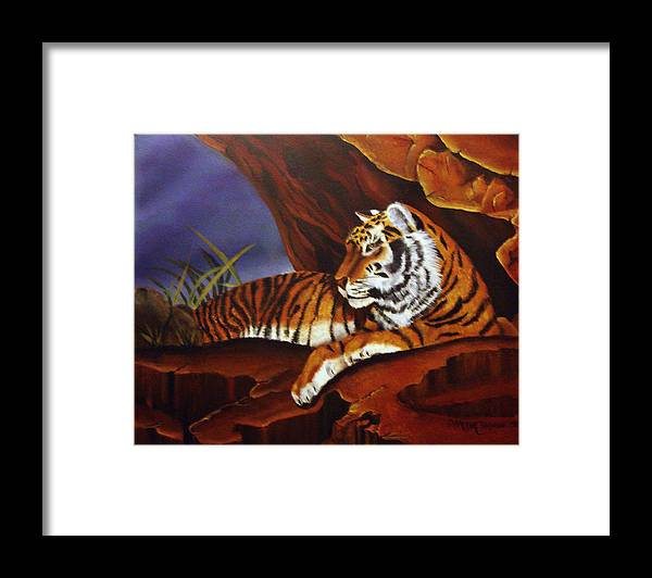 Tiger Framed Print featuring the painting Taking Cover by Darlene Green
