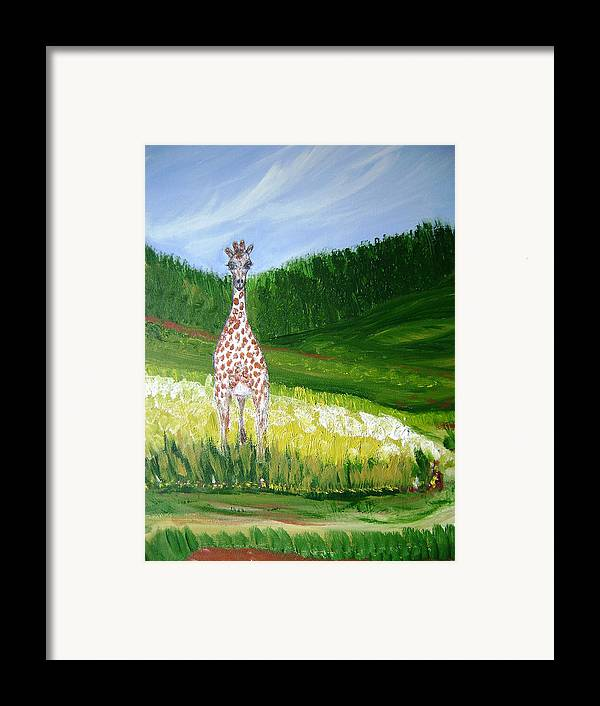 Giraffe Framed Print featuring the painting Taking In The View by Laura Johnson