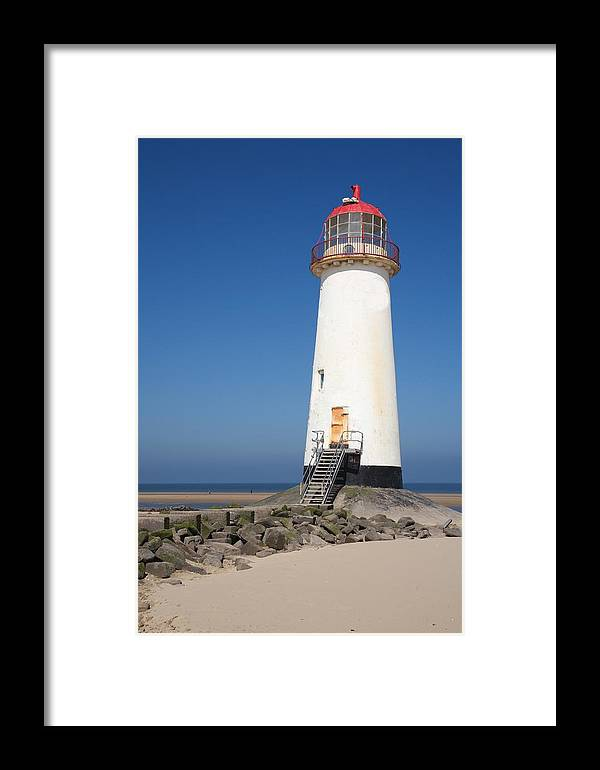 Lighthouse Framed Print featuring the photograph Talacre Lighthouse And Beach. by Christopher Rowlands