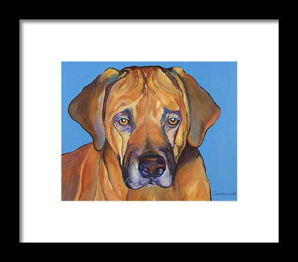Rhodesian Ridgeback Dog Ridgeback African Colorful Orange Gold Yellow Red Framed Print featuring the painting Talen by Pat Saunders-White