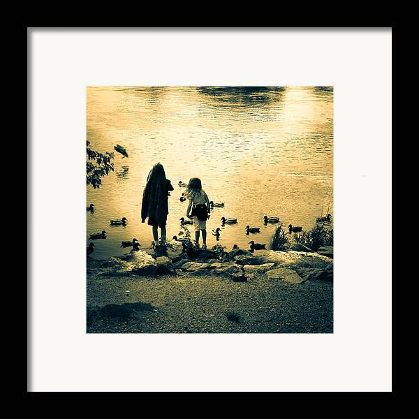 Kids Framed Print featuring the photograph Talking To Ducks by Bob Orsillo