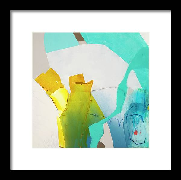 Abstract Framed Print featuring the painting Talking To Myself by Claire Desjardins