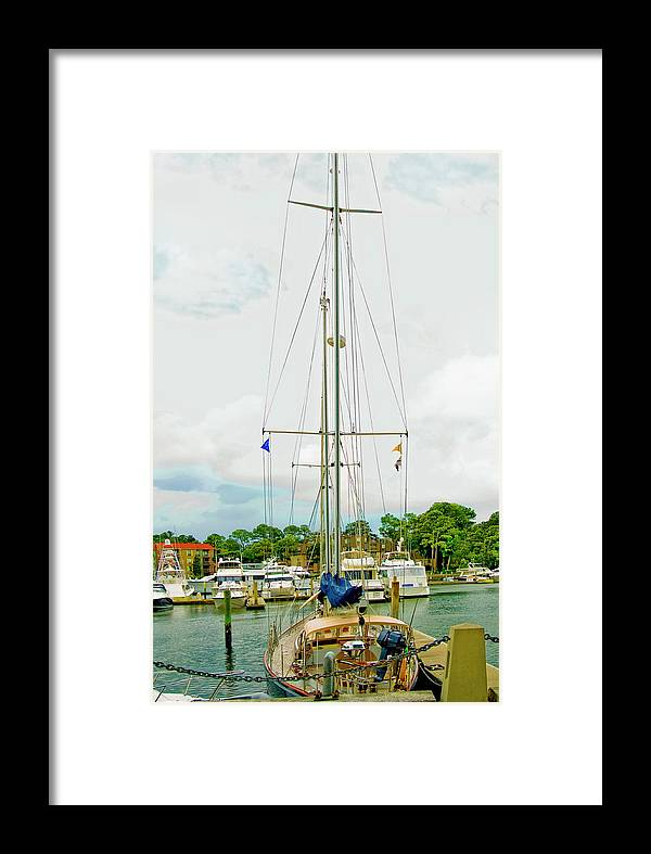 Yachts Framed Print featuring the photograph Tall Boat by Susan Leggett