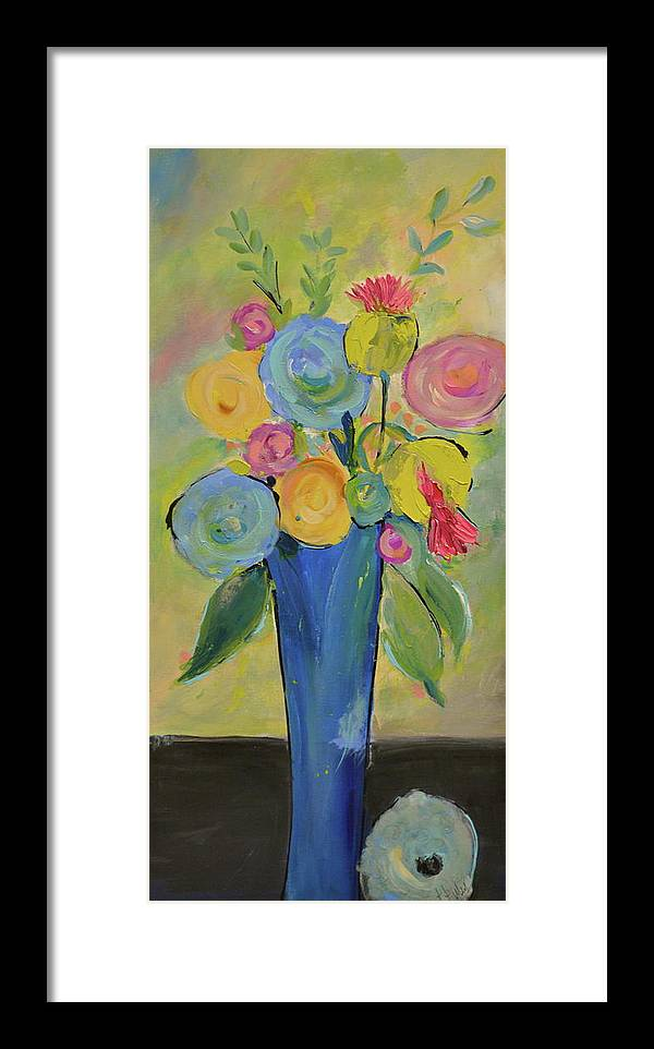 Happy Paintings Framed Print featuring the painting Tall Floral Order by Teresa Tilley